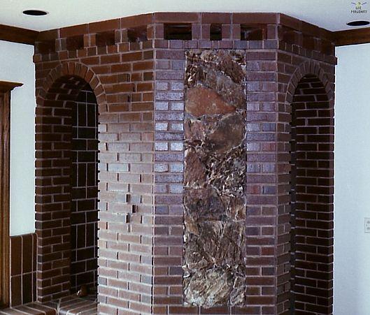 AMAZING. This is a brick shower enclosure. Split brick pavers were ...