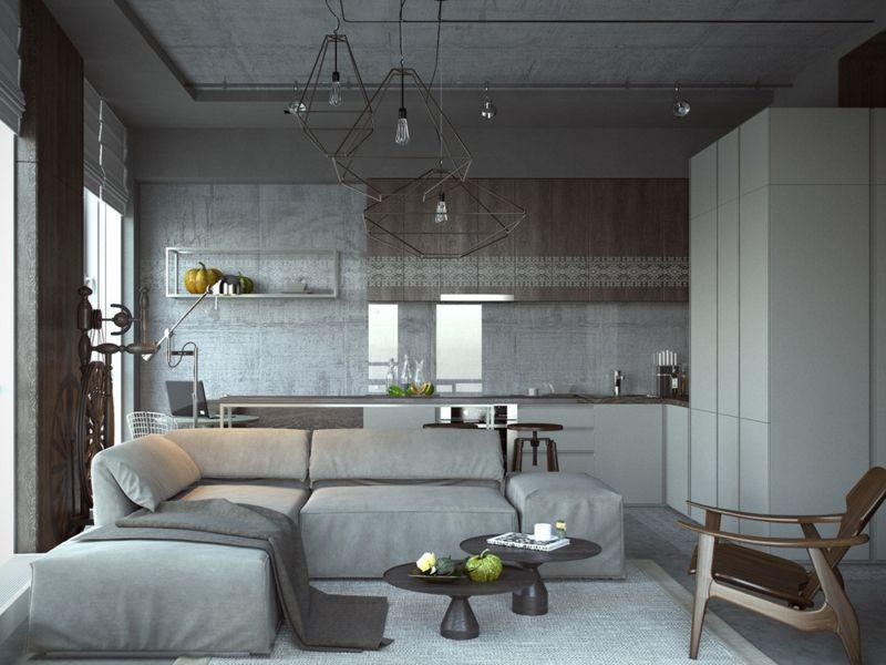 Interieur Gestaltung im industriellen Stil für eine Einraumwohnung - gestaltungsmoglichkeiten einraumwohnung