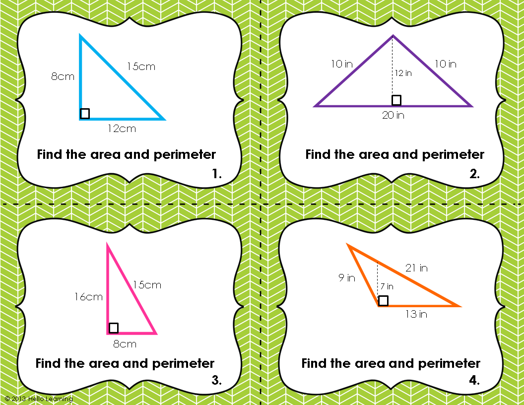 Triangle Perimeter And Area Task Cards With Images