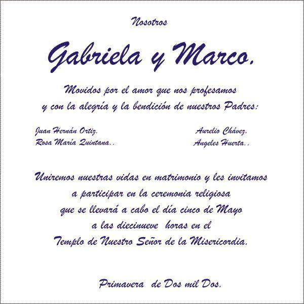 Ejemplo Texto De Invitación Invitaciones De Boda Civil