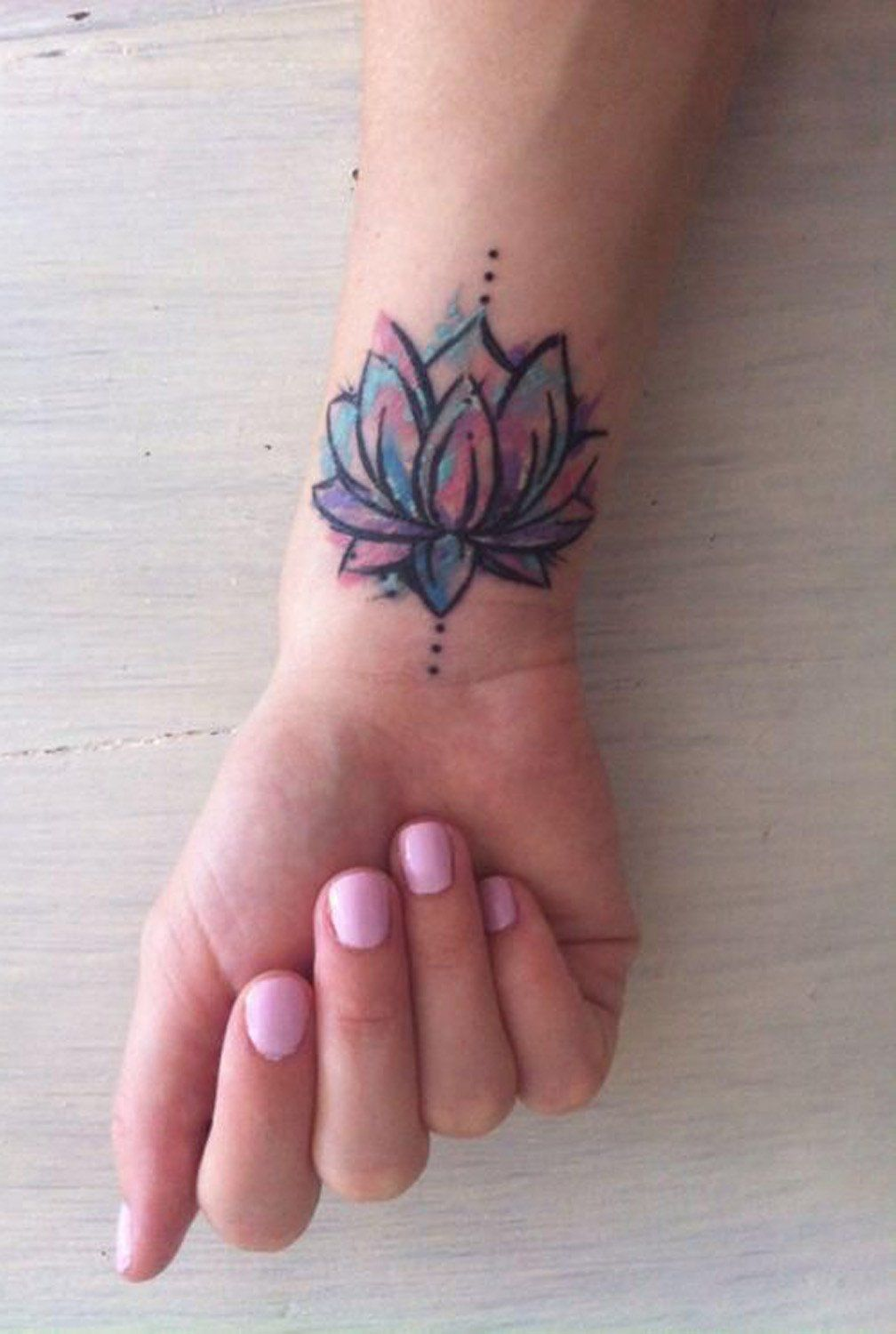 Flower Design On The Wrist Henna Tattoo: Watercolor Lotus Floral Flower Wrist Tattoo Ideas For