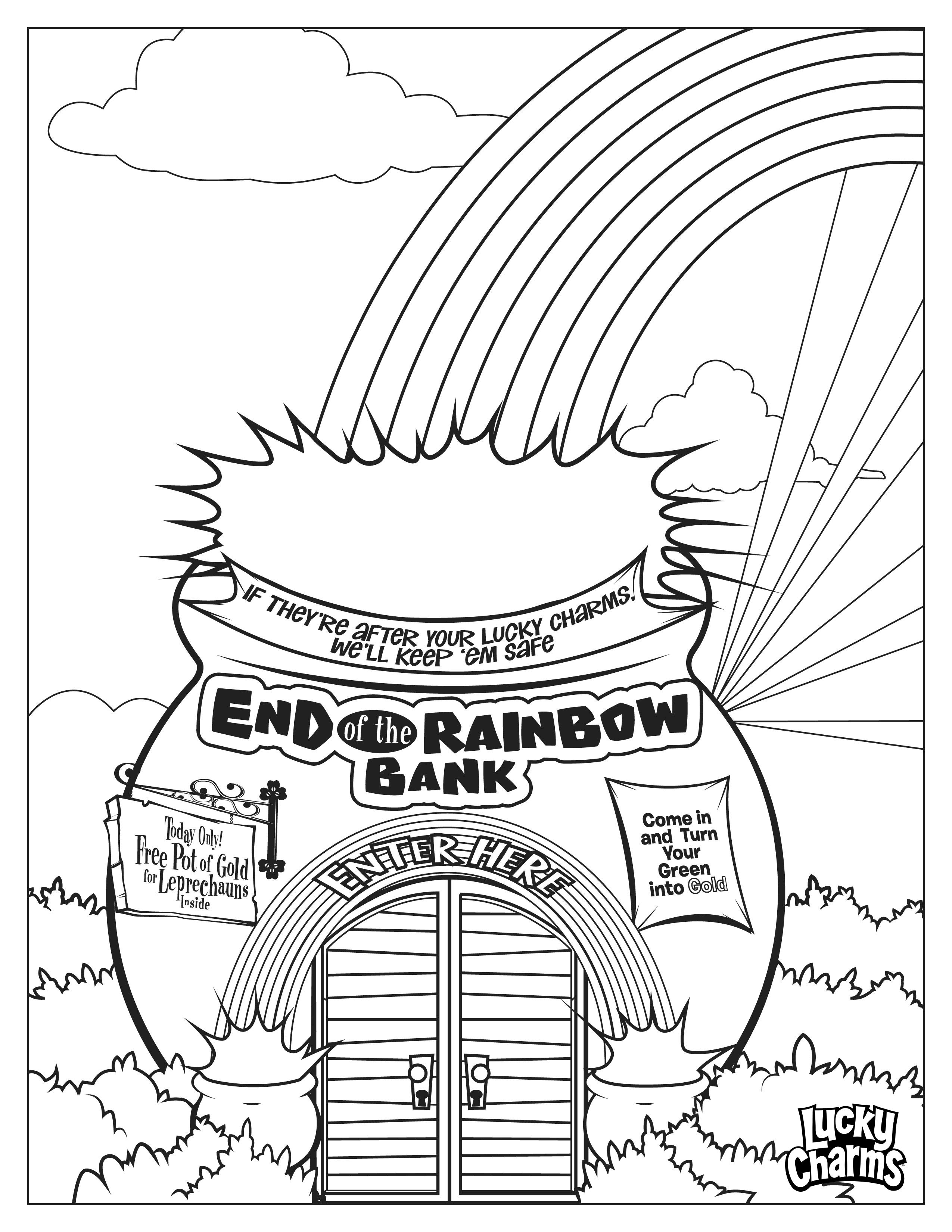 Lucky Charms Coloring Page Rainbow Bank Kindergarten Worksheets Coloring Worksheets For Kindergarten Heart For Kids