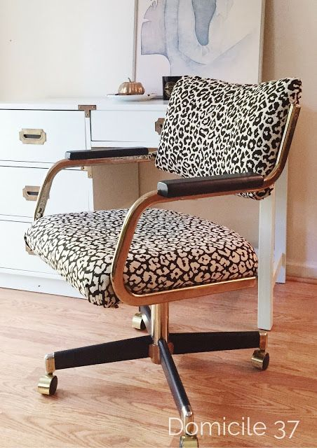 Reupholster desk chair | Animal print chairs | Thrifted chair makeover | Cheetah print chair