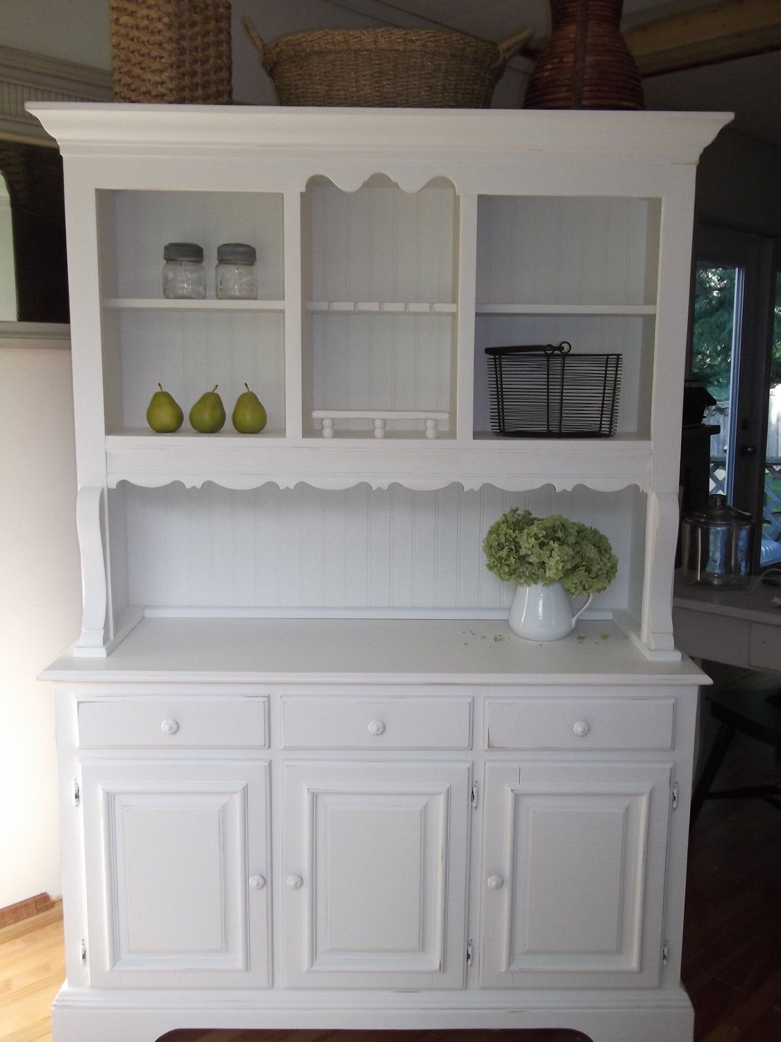 White Kitchen Hutch Cabinet Shabby Cottage, French Country, Farmhouse, White Hutch Buffet China Cabinet.  $595.00, via Etsy.