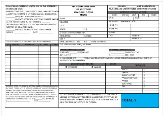 garage invoice template