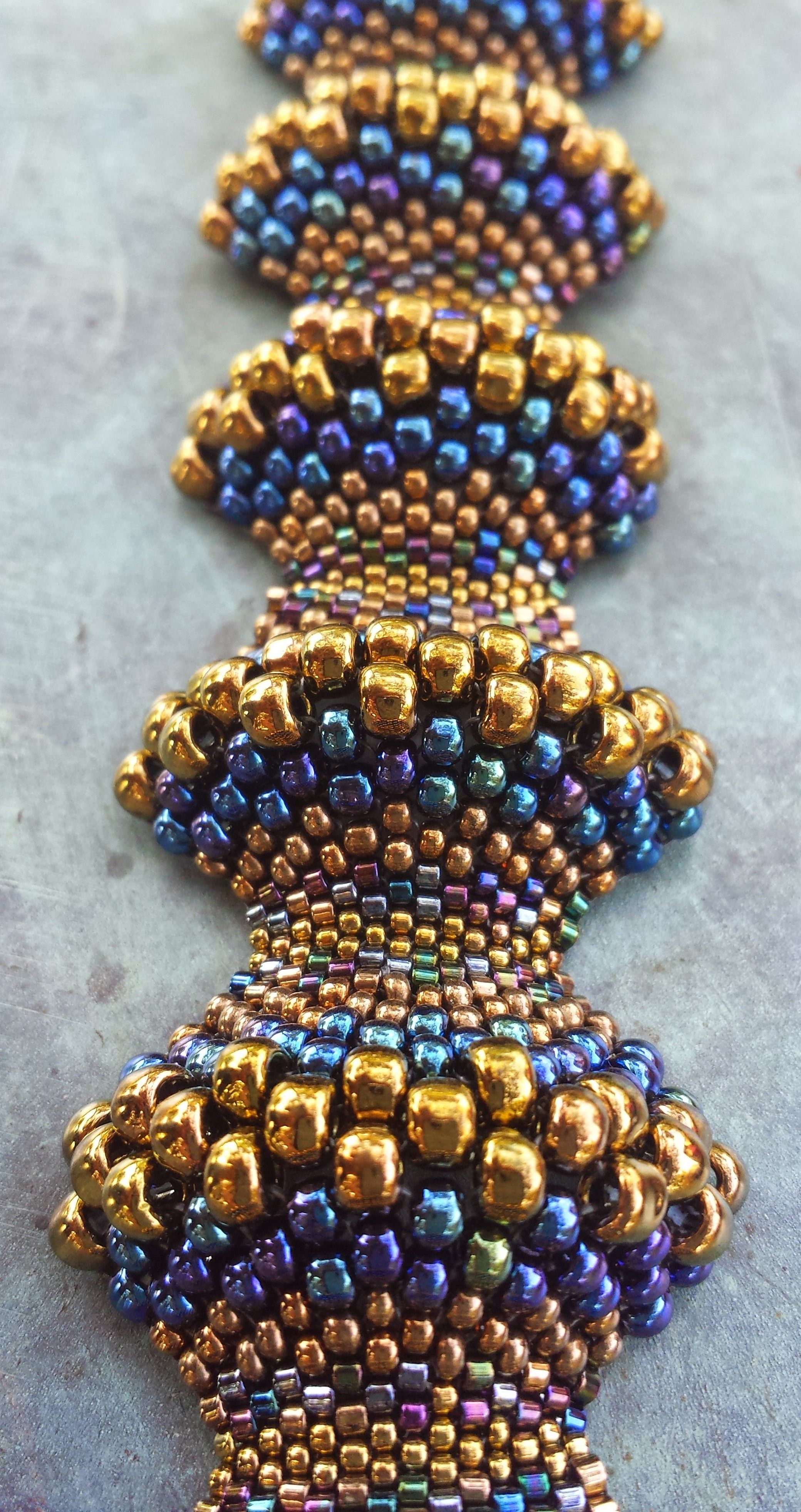 Beaded Bracelet Handwoven Gorgeous Miyuki Peyote Sched Covex Concave Blue And Gold Made With Love Thumbnail 1