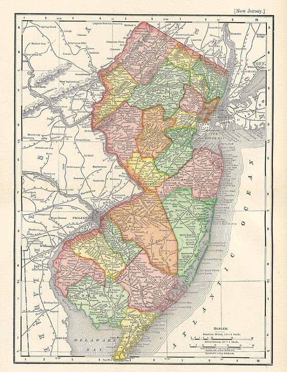 picture regarding Printable Map of New Jersey named map of Fresh Jersey in opposition to a 1904 Encyclopedia Britannica