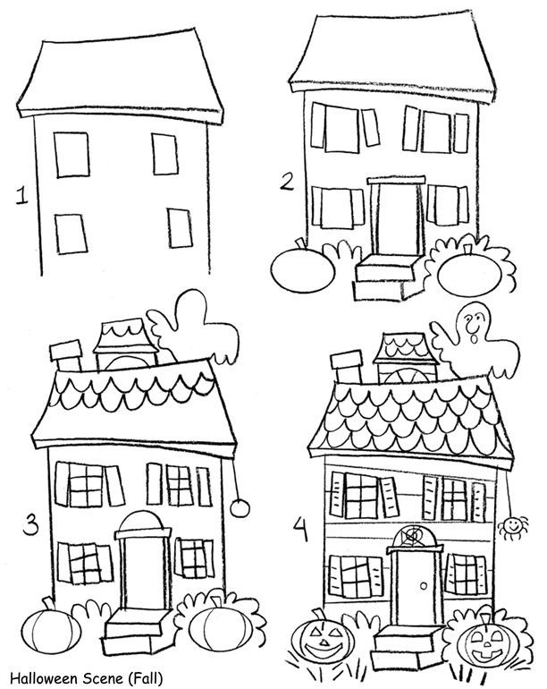 A Cute Haunted House For Children Easy Drawings Halloween