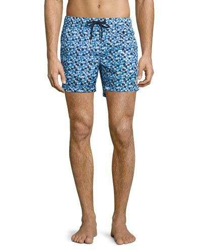 c1aaeeb5ac Moncler Geo-Print Swim Trunks | *Neiman Marcus* | Swim trunks, Mens ...