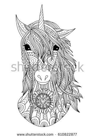 Zendoodle Stylized Unicorn Head For T Shirt Print Design And Adult
