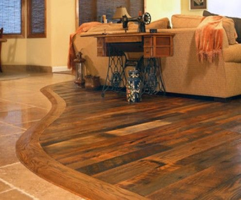 Barnwood flooring paired with tile Would love to have transitions - losetas tipo madera