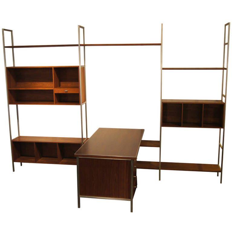walnut modular wall shelving system with deskpaul mccobb for h