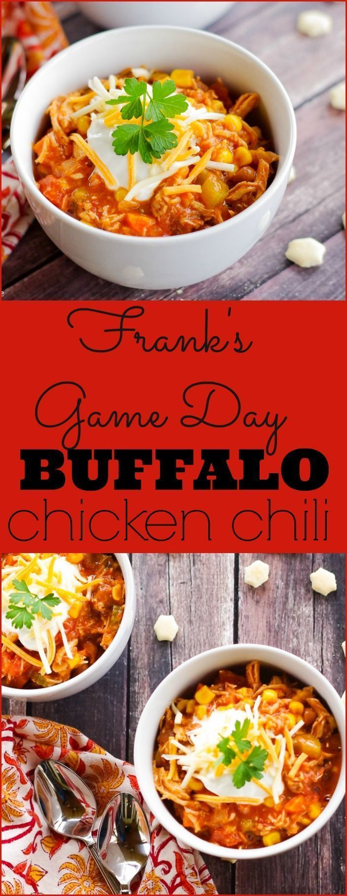 Frank's Game Day Buffalo Chicken Chili - Home & Plate #gamedayfood