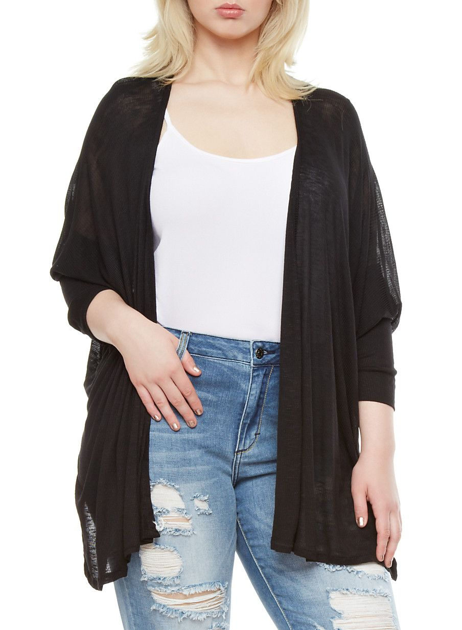 A simple layering piece with some hidden flare is something all of our wardrobes can use! This plus size  marled knit cardigan features a fine rib knit material, dolman sleeves, subtle slits at sides and an open front. Show off the details in this cardigan by layering it over a classic button-up, boyfriend jeans and faux leather ankle boots.
