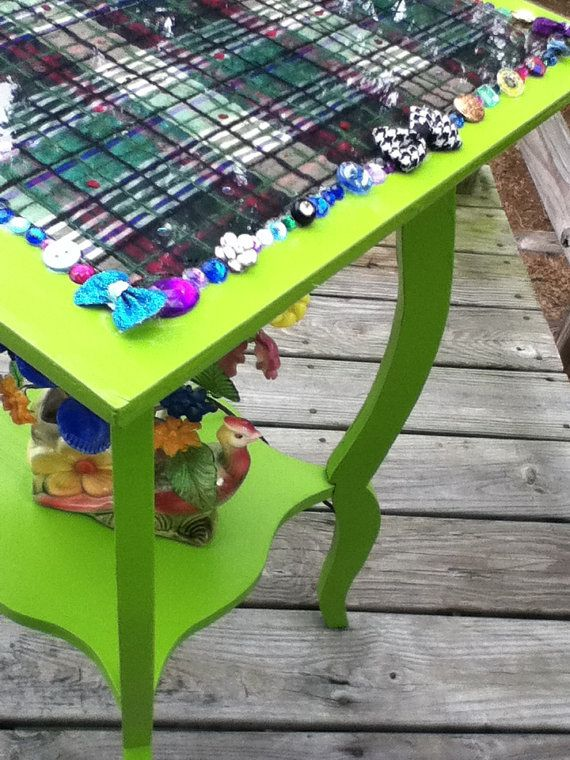 Hey, I found this really awesome Etsy listing at https://www.etsy.com/listing/100241113/chartreuse-table-with-plaid-table-top