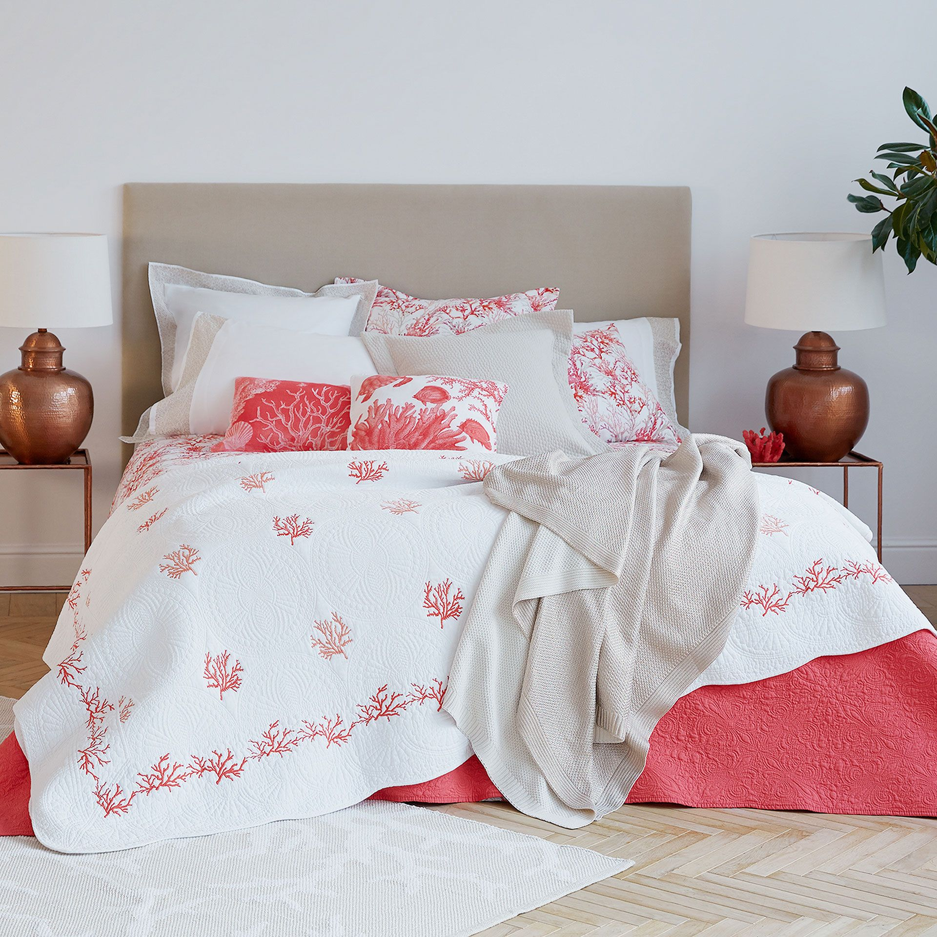 Wavy Edge Contrasting Coral Embroidered Cushion Cover And Quilt