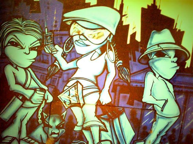 Manga style graffiti wall between Kate Sylvester's store and Felix Cafe & Bar | MIXED BAG