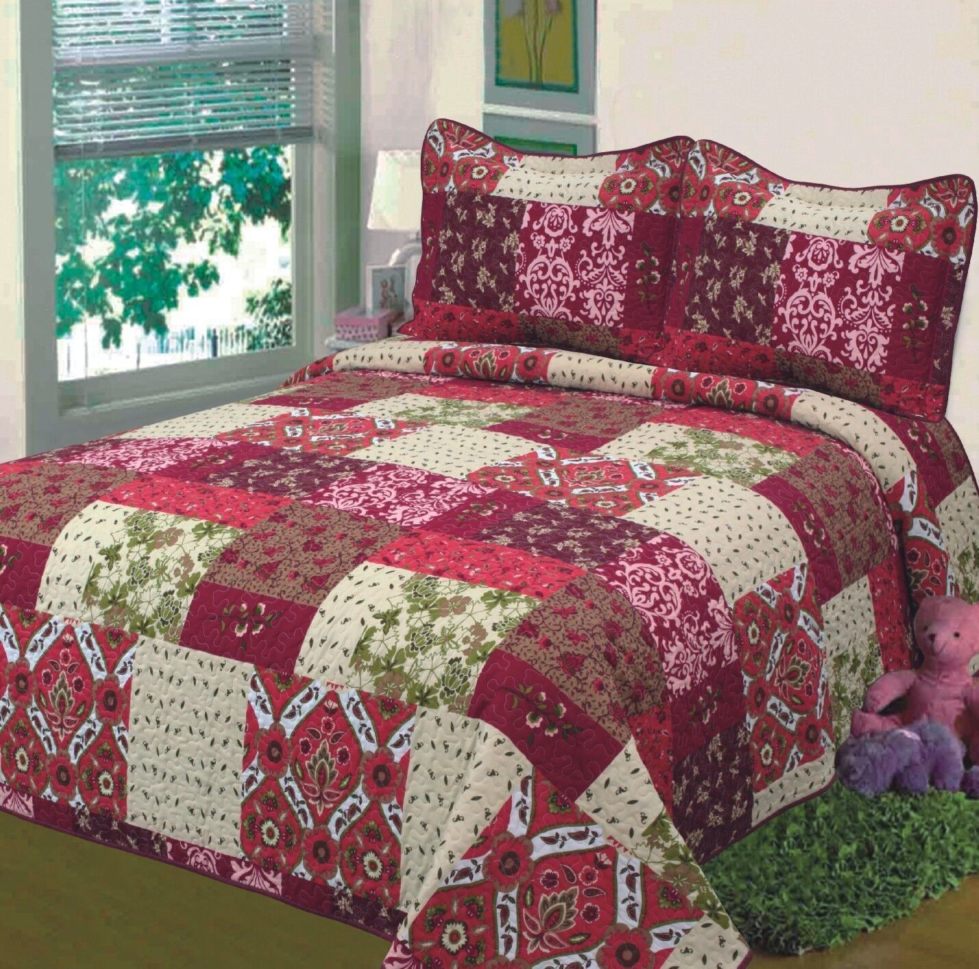 Burgundy Bedding Sets Fancy Collection 3pc Bedspread Bed Cover