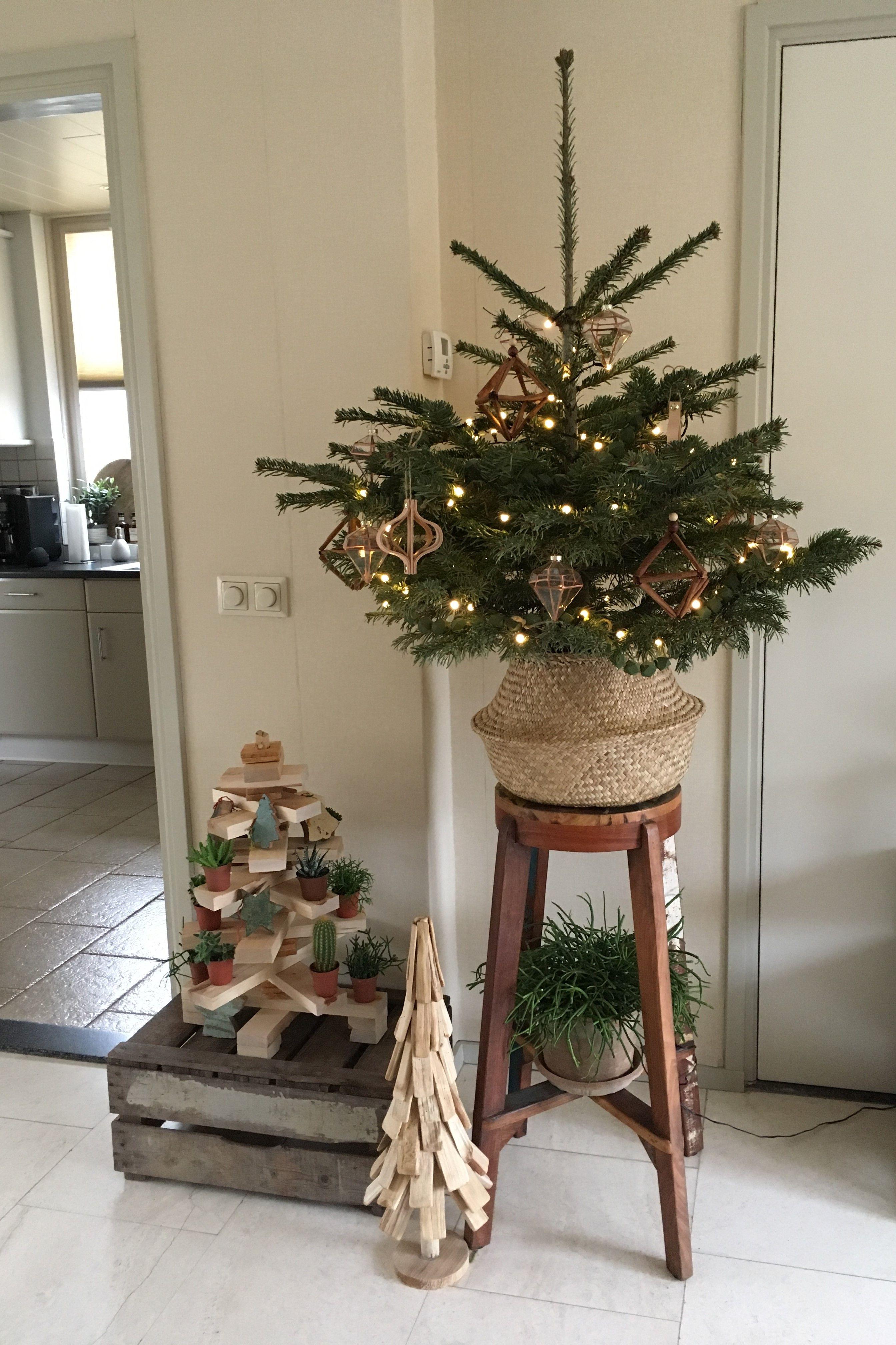 Kleine Nordmann Kerstboom In Ikea Mand Op Hoge Kruk Versierd Met Groene Houten Kralenslingers Glazen Do Landelijke Kerstbomen Stijlvolle Kerst Kerstdecoratie