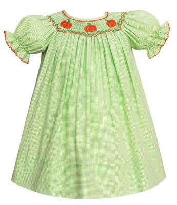 55457b16ade6 Petit Bebe by Anavini Baby / Toddler Girls Green Check Smocked Pumpkins  Bishop Dress