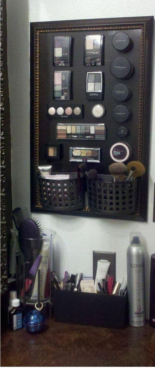 Bathroom Organization Ideas Makeup magnet boards, Small bathroom