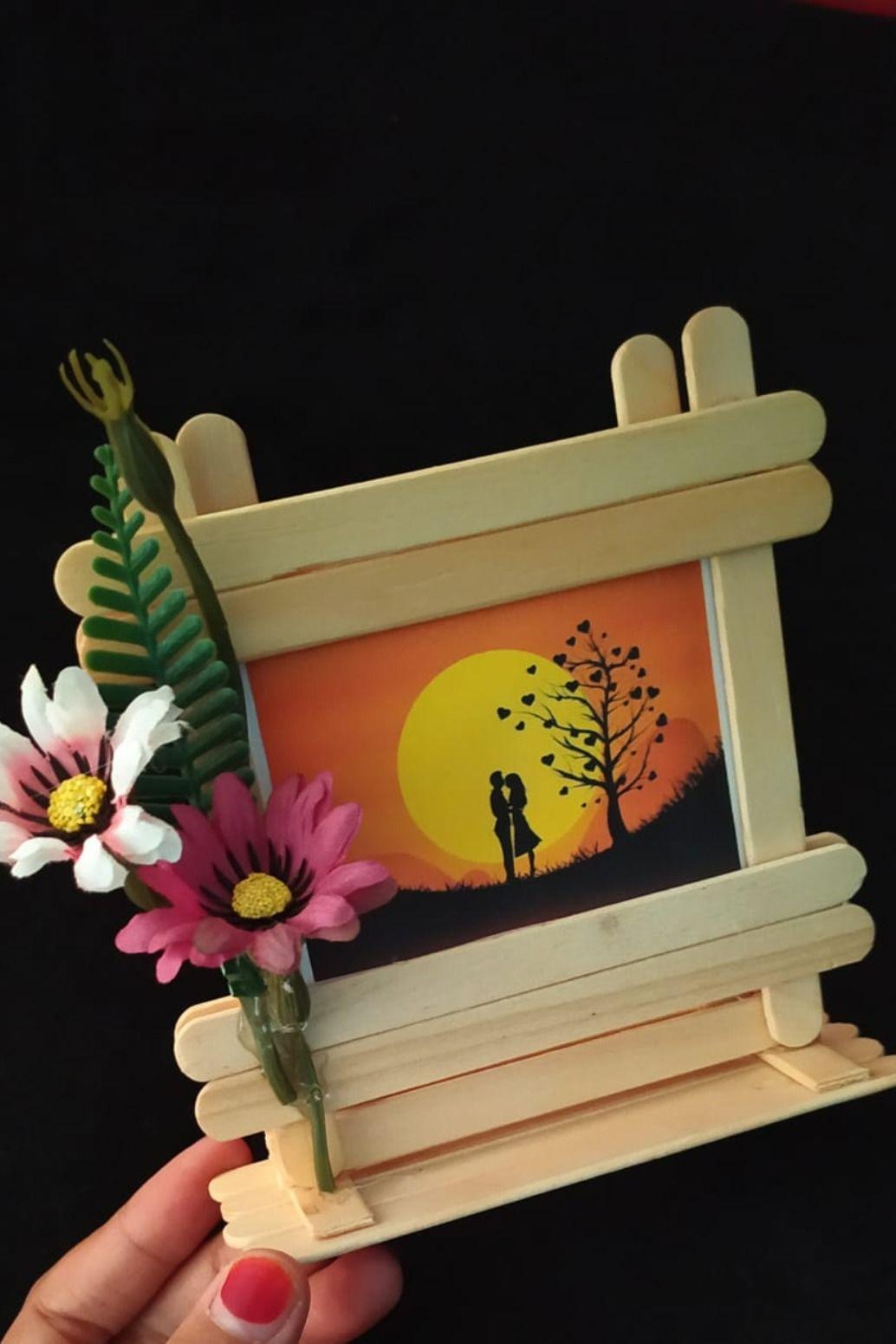 Popsicle Stick Frame Kreatif Wallpaper Ponsel Minion Ide Dekorasi Frame dari stik es krim