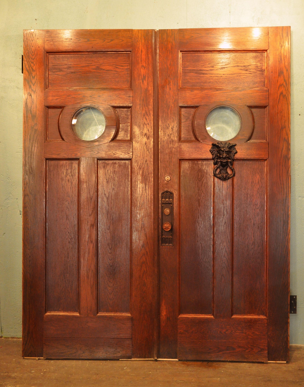 Oak Entry Doors With Beveled Glass Porthole Window 36 X 90 X 2 1 4 Porthole Window Front Porch Garden Entry Doors