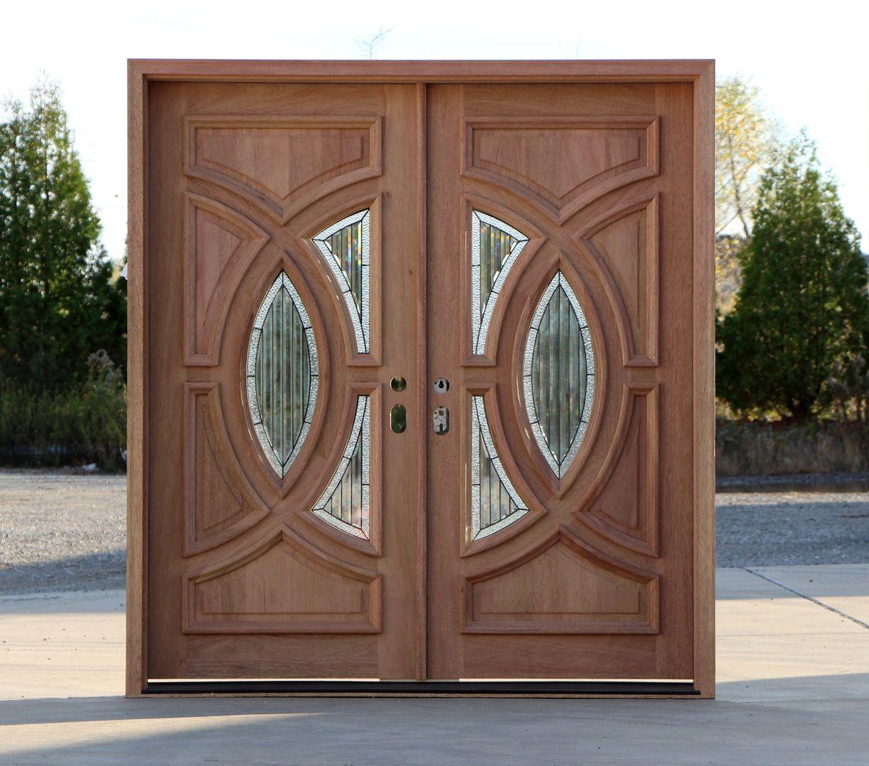 Exterior Double Door In Solid Mahogany Double Front Doors