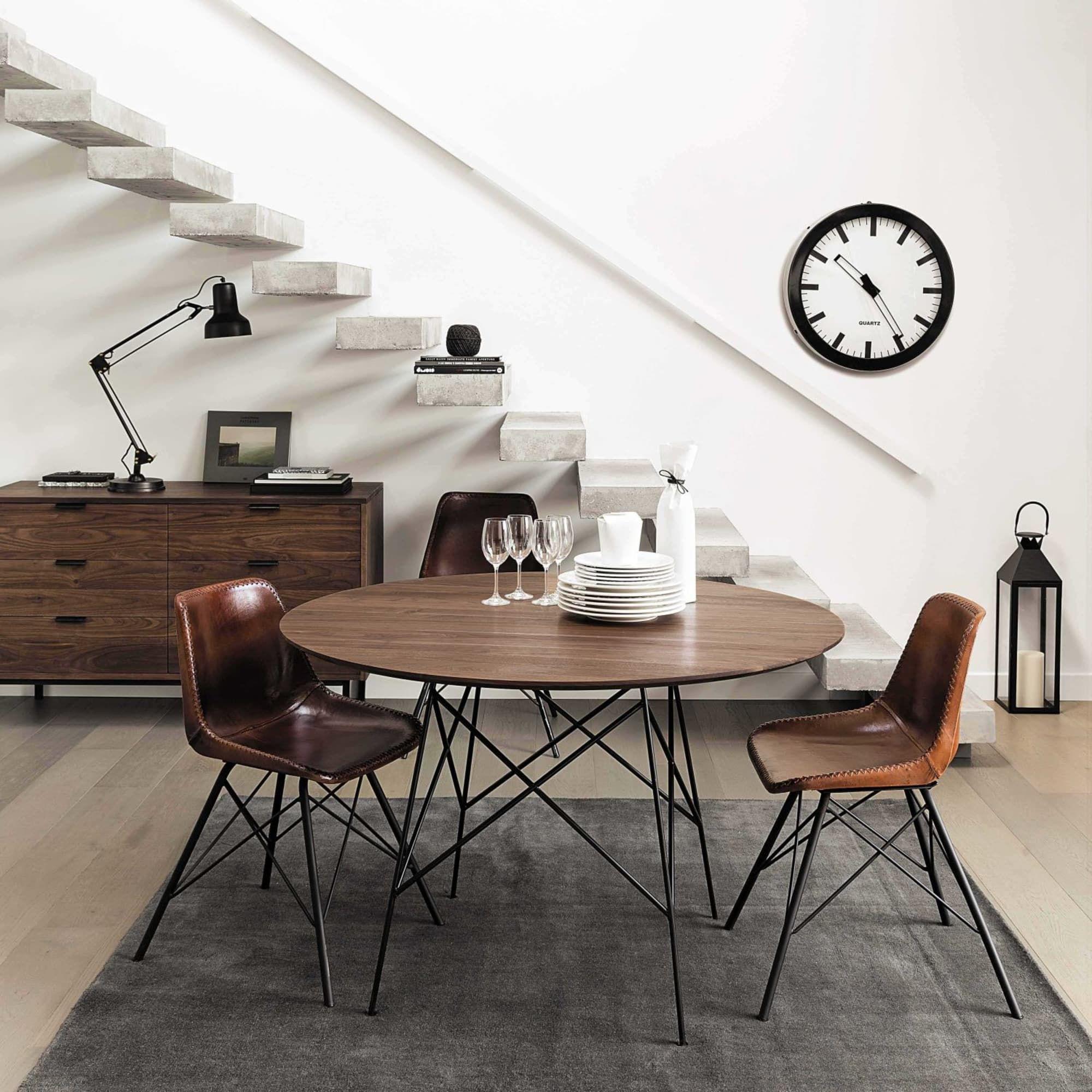 Stuhl im Industrial-Stil aus Leder, braun | Mesa de comedor ...
