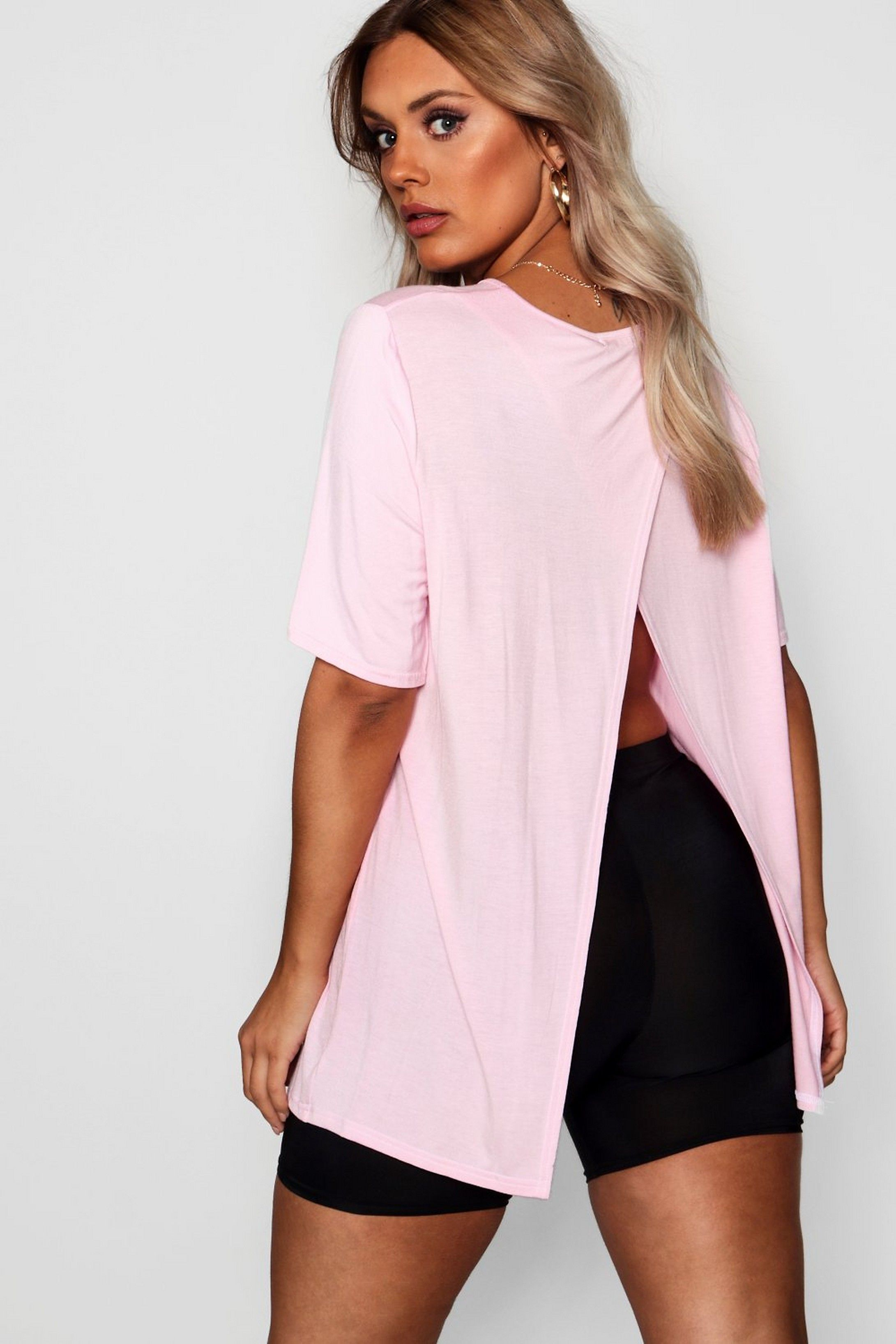 Plus Jersey Split Open Back T Shirt Boohoo How To Wear Scarves Fashion Trend Setting
