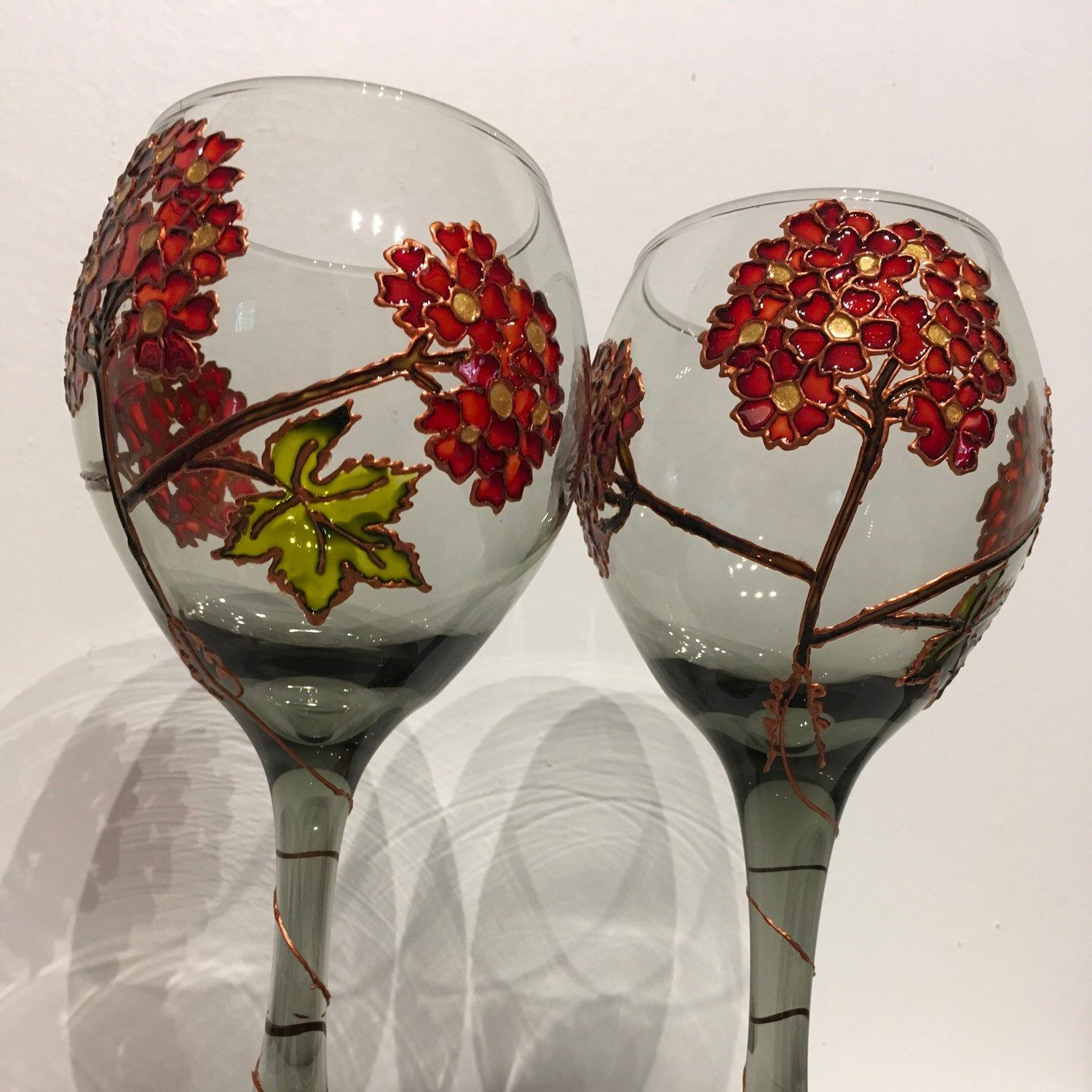 New Listing Hand Painted Wine Glasses Hand Painted Wine Glasses Painted Wine Glasses Glass Painting