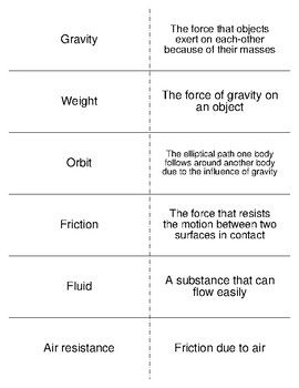 gravity friction forces and pressure vocab flash cards for physical science flash cards. Black Bedroom Furniture Sets. Home Design Ideas