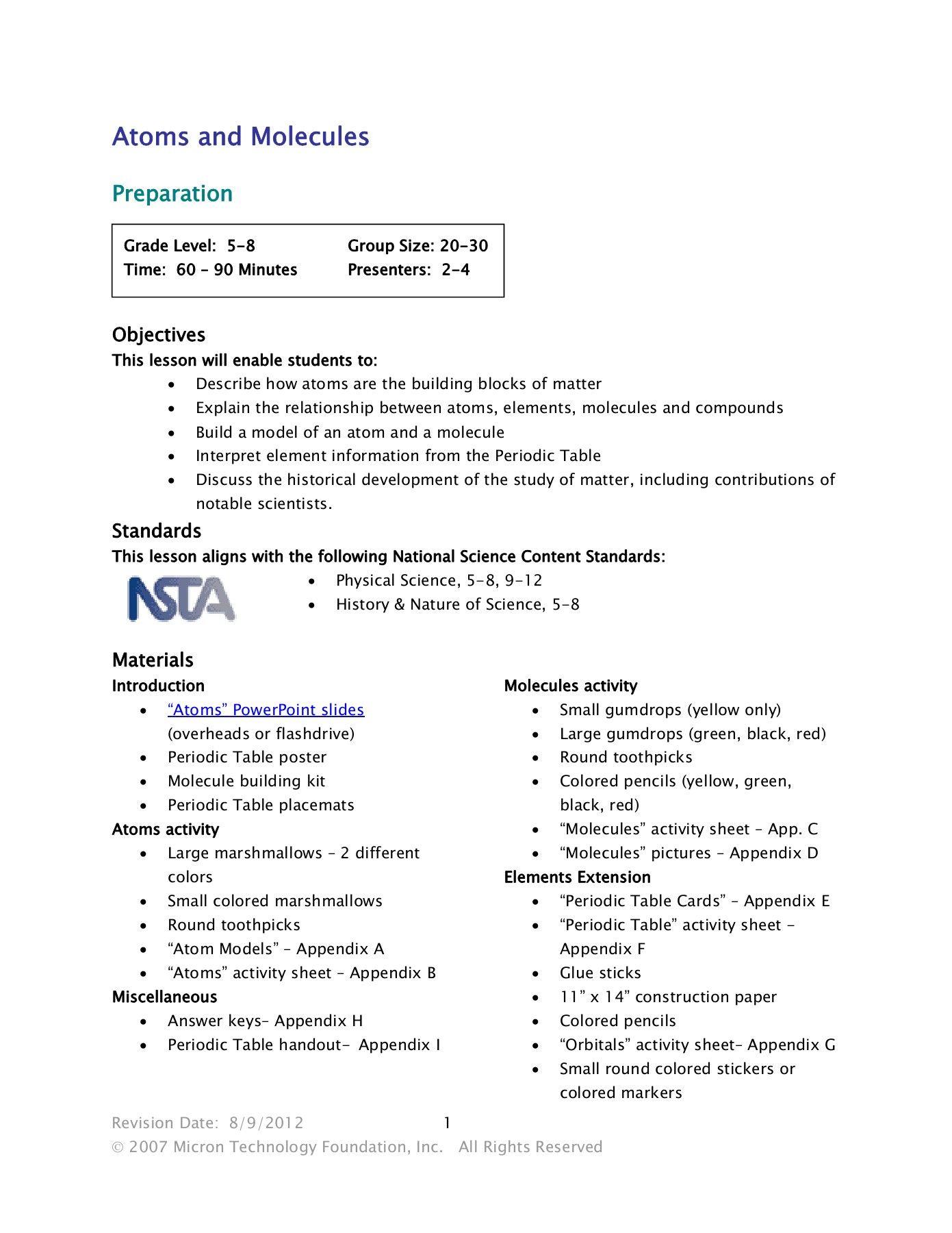 Electron Configuration Worksheet Year 9