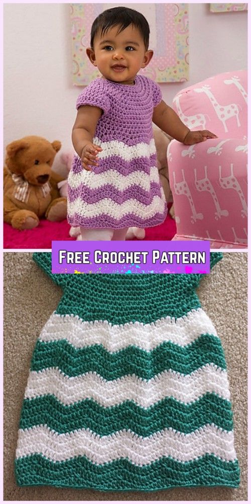 Crochet Girl\'s Chevron Dress Free Patterns-Video | Pinterest ...