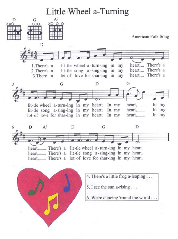 Melody With Guitar Chords American Folk Song Choir Time