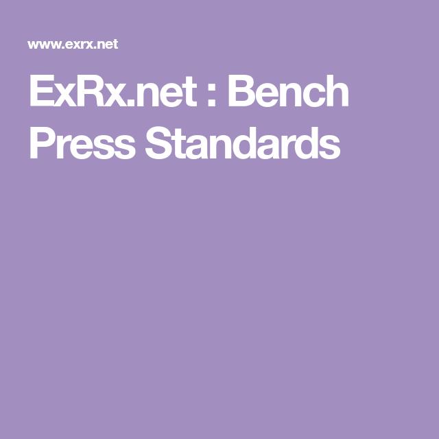 Exrx Net Bench Press Standards Bench Press Bench Pressing