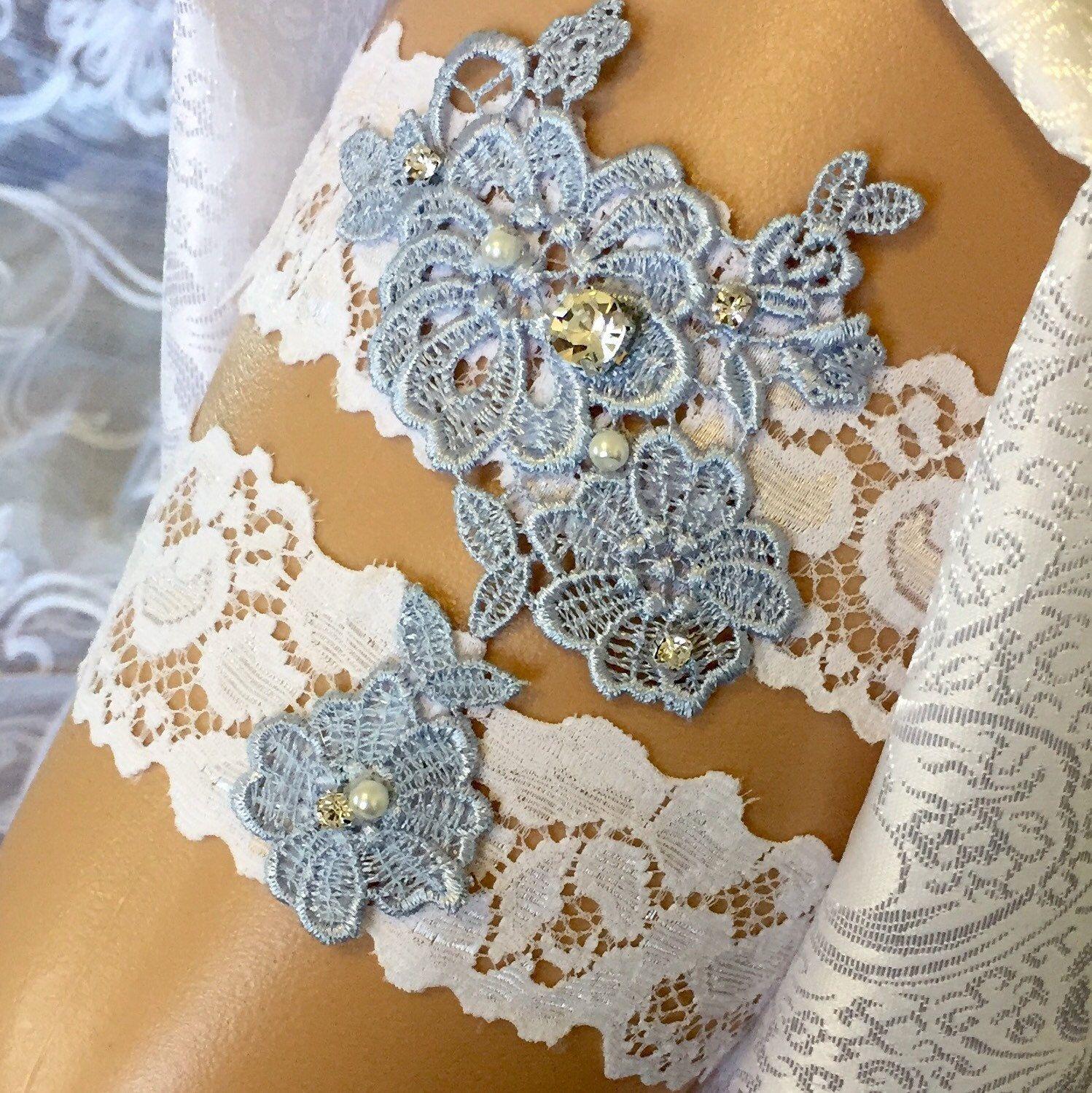 White Wedding Garter: Pretty Blue And White Wedding Garter Set.