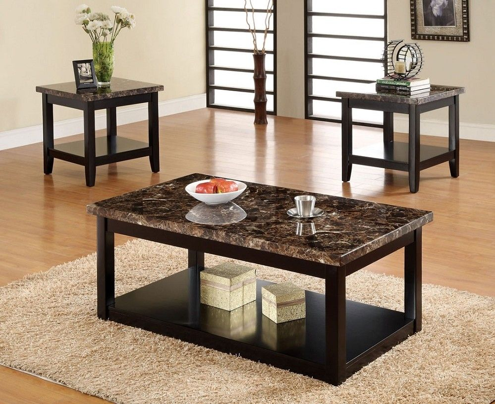 3pc Lawndale Faux Marble Top Solid Wood Black Finish Coffee Table Set Faux Marble Coffee Table Coffee Table Marble Living Room Table [ 815 x 999 Pixel ]