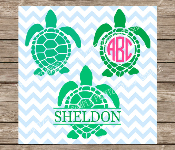 Turtles svg files Monogram Turtle svg Ocean svg Beach svg