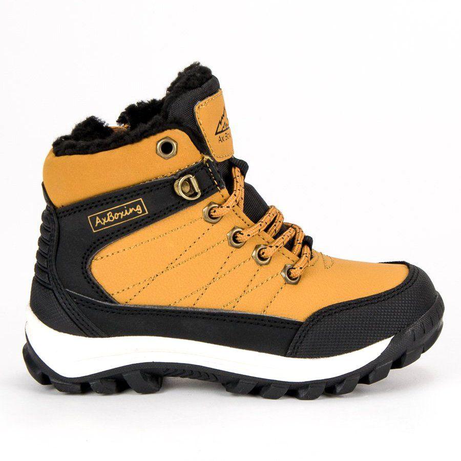Polbuty I Trzewiki Dzieciece Dla Dzieci Axboxing Zolte Cieple Obuwie Nad Kostke Ax Boxing Boots Hiking Boots Shoes