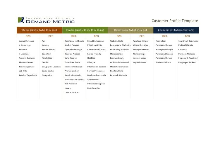 Customer Profile Template Demographic (who they are) Psychographic - corporate profile template