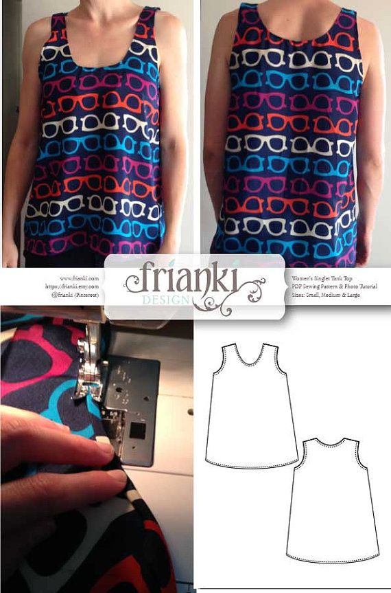 Women\'s Easy Singlet Tank Top - PDF Sewing Pattern and Photo ...