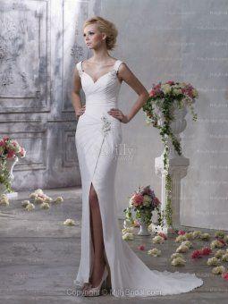 Sweetheart Chiffon Sheath/Column Sweep Train Applique Wedding Dress