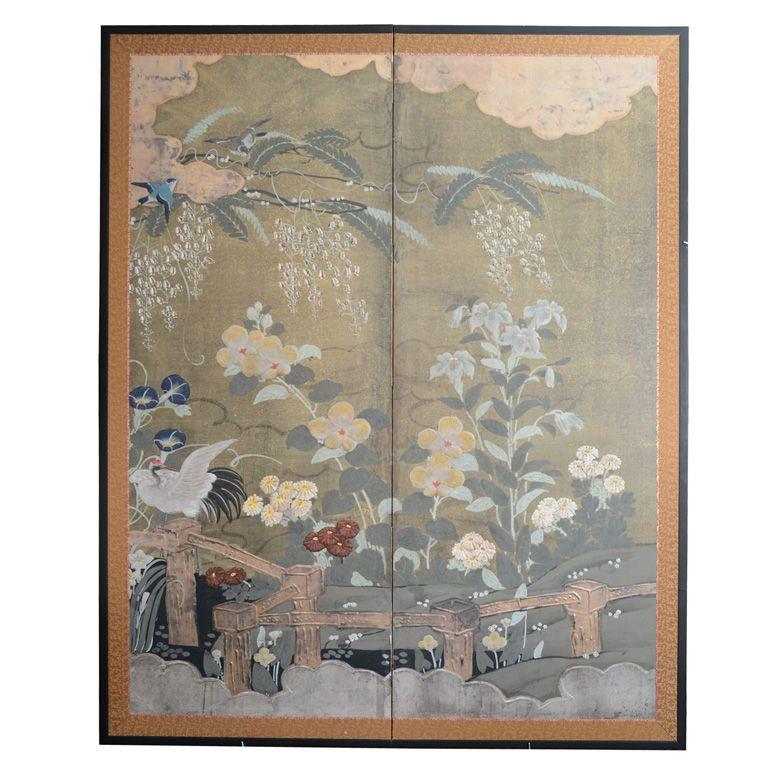 Antique Japanese Two Panel Flower Screen; Edo Period