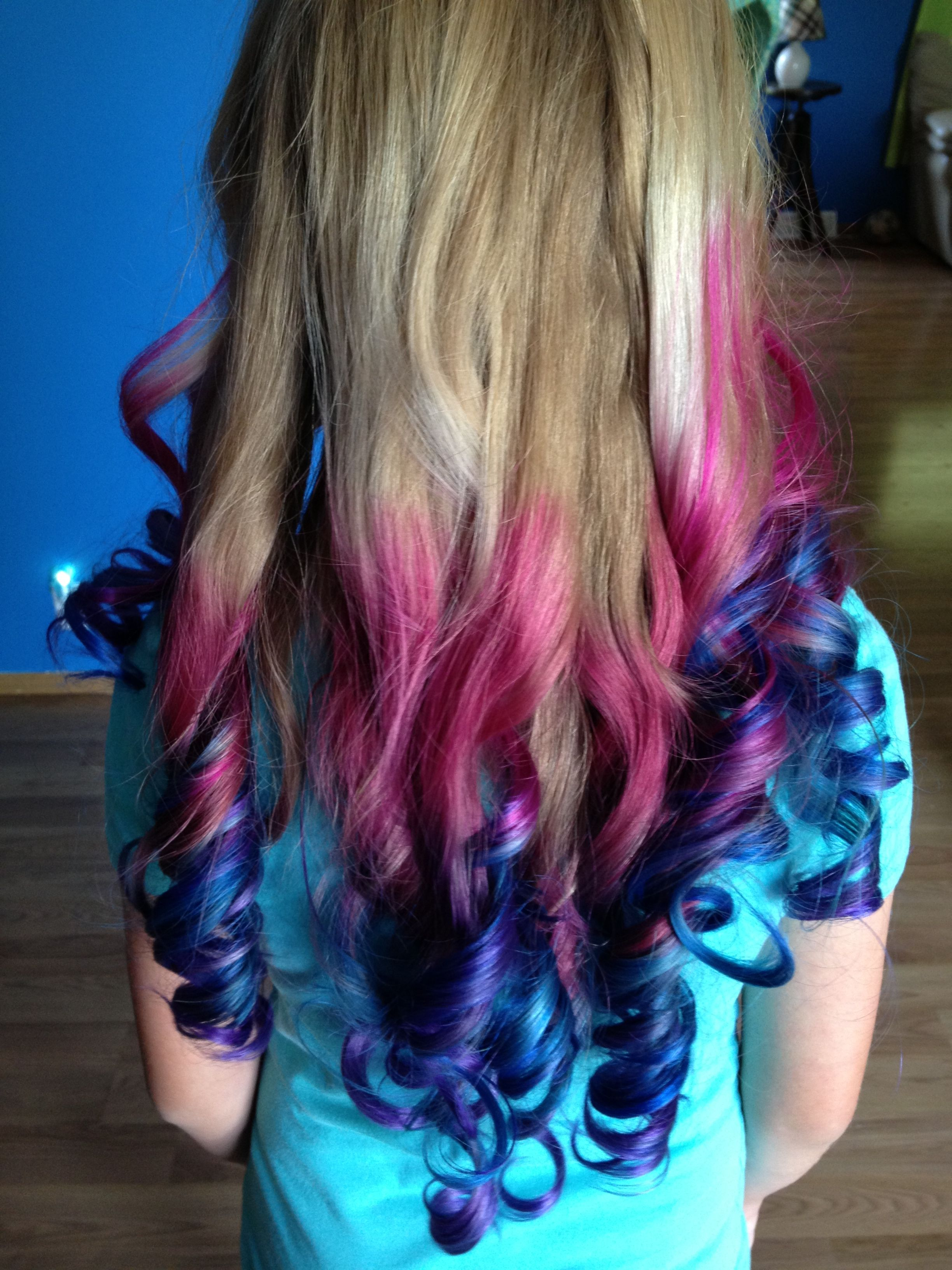 Pink Blue And Purple Colored Hair Ends Colored Hair Ends