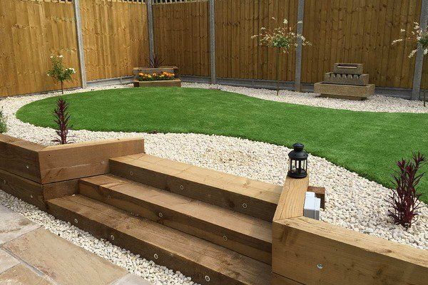 garden sleepers steps backyard decorating ideas retaining wall privacy fence