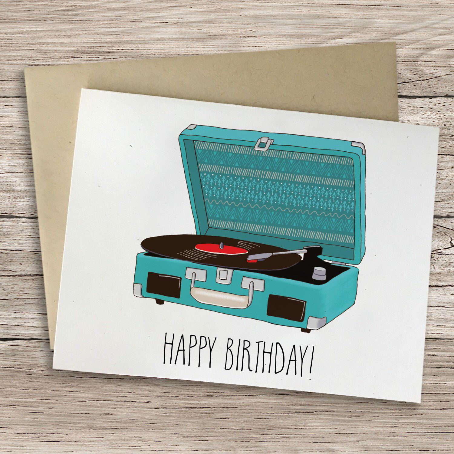 Record Player Greeting Card Happy Birthday You Re Groovy