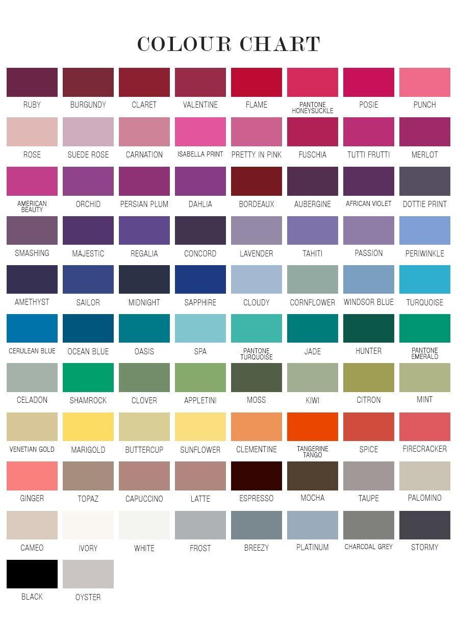 Colour chart roygbiv pinterest wedding colour chart ombrellifo Image collections