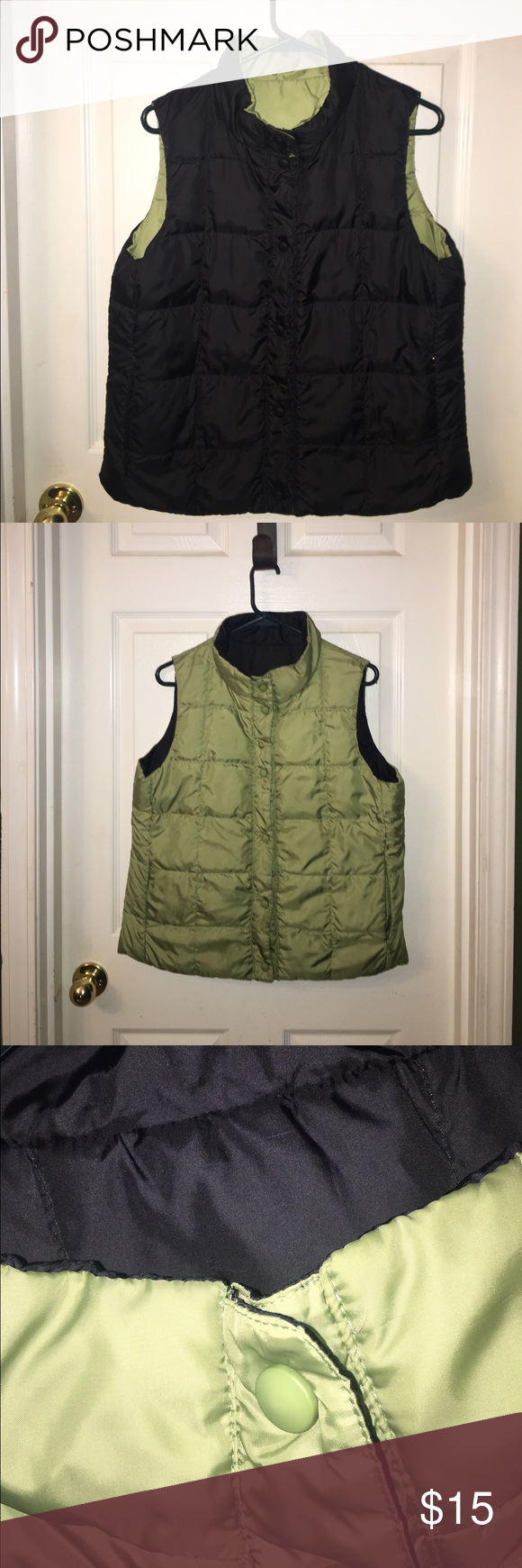 🌟🌟 SUPER CUTE REVERSIBLE VEST 🌟🌟 LOVE this Vest! ❤❤ Reversible as shown in the photos... black & green with pockets on both sides 🌟 Jackets & Coats Vests
