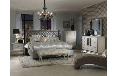 AICO Hollywood Swank 4pc Upholstered Platform Bedroom Set In Metallic  Graphite